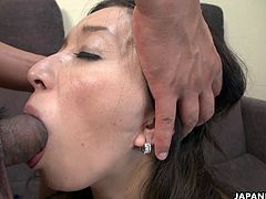 Grabbing a cock with her mouth is the way this mature slut controls the situation. The dude is the one who is getting off inside of her mouth, cumming in her deep throat.