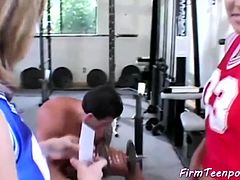 Two Cuties Share One Dick in a Gym