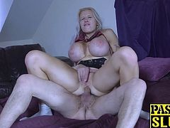 Hardfucked Brit MILF with massive boobs gets fed with jizz