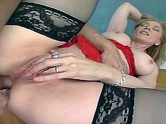 Hot blonde MILF Nina loves the feeling of a big rod nailing her ass