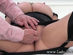 Lady Sonia lets you get up close and personal with her beautiful little snatch. Watch her pussy lips spread open as she gets fingered. Her cunt dripping wet and aching for more.