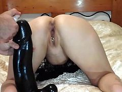 Extreme amateur MILF Sarah fisted and fucked in her cavernous greedy pussy with a colossal dildo