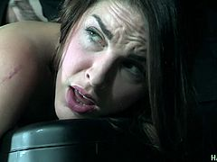 Tied up slut Amarna Miller gets her ass spanked and fucked in the basement
