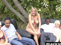 Wild BBC fuckfest in nature fills the area with moans