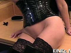 Hot femdom act with charming playgirl dominating totally