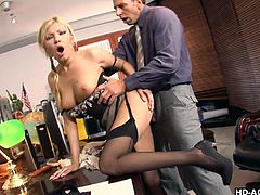 Donah Bell in nylon stockings missionary ravished in the office