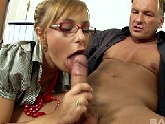Hot Jennifer Love likes to ride his long dick while she moans