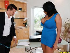 It's hard for Ramon to work, as long as this ebony babe with huge tits walks around. With her every movement his dick gets harder, so he decides to use this chance to the fullest. Watch Dominique sucking Ramon's big dick and swollen balls, on knees, with great passion.