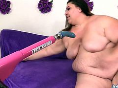 Brunette plumper shows her juicy tits and pussy She sucks on a machine dildo Then rides that fucking machine in her plump pussy and and enjoys orgasm