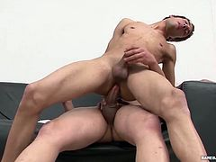 Ariel and Juanjo are fuck buddies and the perfect match for each other. Ariel loves to fuck and Juanjo enjoys taking his big uncut dick up the ass. On the sofa, Juanjo goes to work sucking his tops cock stiff and then kicks back for a proper dick licking of his big meat. With both Latinos naked and hard, Juanjo hops on for a raw ride and it isnt long before Ariel has taken over. He barebacks his bottom in several positions, before pulling out to fill Juanjos mouth with a cum gusher. Finally J