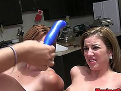 Lesbian sorority coeds toy dildo playing