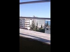 Wife in stockings masturbate on hotel balcony