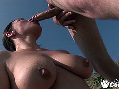 Big breats brunette milf fucked by cocks and gets her ass jizzed outdoors
