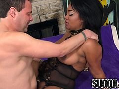 Cock hungry ebony plays with a white dick and the gives a nice blowjob Then gets her pussy fucked with it in many positions The guy spills cum over her chin and tits