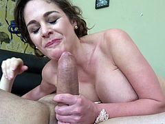 Cute brunette Cathy Heaven enjoys sucking on a delicious dick