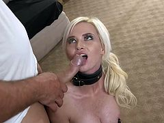 This blonde babe has been very naughty. Her master is leading her around on the ground with a leash and dominating her. She is so humiliated. He clamps her nipples and shoves his big cock down her throat.