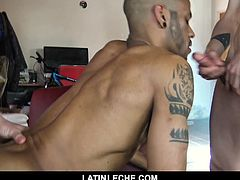 This beefy straight tourist was fucked and fed by our cameraman once before, and decided to return to Buenos Aires to earn some more cash. This time around, he services two hung uncut cocks for the first time. But he didn't stop there. Our tattooed muscle Latino stud takes it rough and raw in this threesome, and gets spit-roasted bareback by two strangers before having both his holes filled with a juicy load of leche.