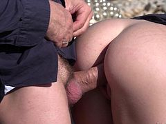 Angel Piaff and another girl get their butts drilled by a fat dick