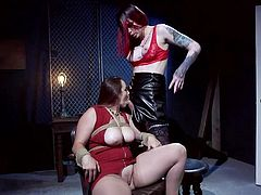 Shemale goddess Chelsea, has a chubby lady tied to the chair and she is ready to dominate her. The sexy tranny rubs her slave's fat cunt and tightens the rope bondage. Watch as she shoves her juicy tranny cock in the mouth of this sexy fat babe. The tranny loves pussy and she's on the prowl!