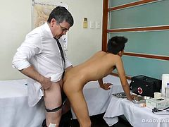 When Daddy Mike feels his office boy is satifying his needs, hes always ready to promote them. Daddy Mike calls Asian twink Jude into the conference room to give him the good news. And cute Asian boy Jude wants to show his gratitude. Jude has always been attracted to his boss, and nows the time to show it. He approaches Daddy and starts kissing and rubbing his crotch. Daddys cock swells as the Asian gay boy reaches in to pull out all 8 inches and buries it in his mouth. One thing leads to ano