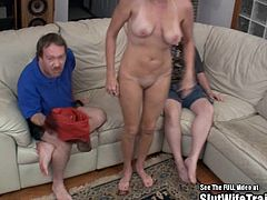 This horny blonde big tits wife got sent over to Dirty D to get slut trained. She sucks and fucks two dicks and gets sent home full of sperm!