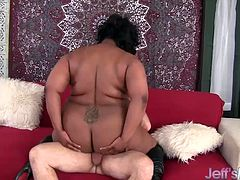 Ebony BBW gets her black pussy licked good by a mature white guy Then he fucks her pussy so hard and deep He cums in her mouth
