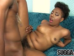 Ebony slut sucks a black dick so good Then she takes it in her hairy pussy and gets fucked in many positions She takes cum in her mouth