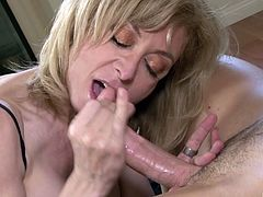 Nina Hartley gets talked into riding a dick like never before