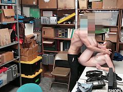 Four eyed chick Gracie May Green is punished for shoplifting in the back room