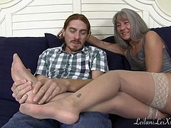 Mature Milf Gives Stockings Foot Job to Redhead TRAILER