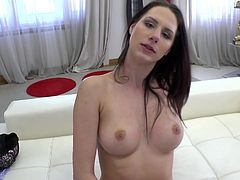 It was very clever of her to seduce him by using such an old trick. Gia Mulino took a huge plastic cock and showed how easily it enters her pussy, and how wet this warm hole becomes with every push... He could not withstand such a proposal and now, Rocco's thick dick is in her mouth! Watch!