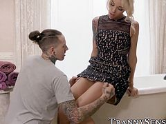 Irresistible tgirl Audrey Kate seduces and drills inked stud