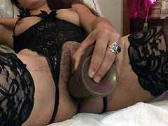 stuffed pussy herself with BB dildo