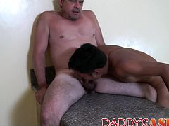 Young Asian asshole lovingly stretched by raw cock daddy