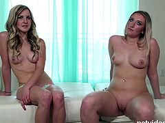 Two beautiful blonde's sharing a hard cock