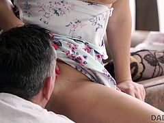 Mature guy nicely penetrates young blonde with perky tits