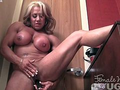 Naked Female Bodybuilder Masturbates Her Big Clit Vibrator