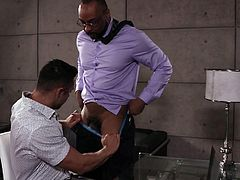 To successfully pass an interview, Seth Santoro needs to please the boss. I hope you understand what I mean? He was lucky, because this black muscular stallion that sits opposite, is also very horny. Join and enjoy the beautiful scenario!