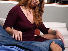 To be honest, she is not old and also very sexy, so when I noticed that she liked me and she was trying to flirt with me, I decided not to waste time, and seduced this busty redhead milf. She was surprised by the size of my dick, but tried to swallow my huge penis almost completely... She was really GOOD! Join!
