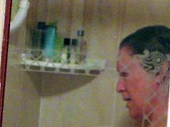 Mature British housewife in the shower