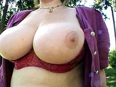 Gisela secretary shows cunt and tits outdoor
