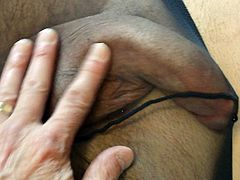 Me Rubbing Young Stud's Cock in Pantyhose