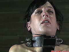 Tied up petite sub punished hard with cane