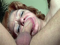 Granny sucks stepsons dick better without denture