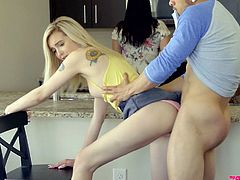Lovely stepsister Lexi Lore is fucked by stepbrother under stepmom's nose