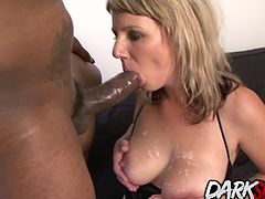 Blonde MILF gets her pussy licked and toys and fingers stuffed in her ass by a black guy Then she gets her asshole drilled with his black cock in many positions He cums on her tits