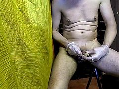 12 needles in foreskin with cap to lift oil tank cbt camera2