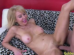 Sexy blonde granny sucks a hard cock so good Then she opens her her pussy for that dick and get fucked in many positions He spills cum on her face and tits