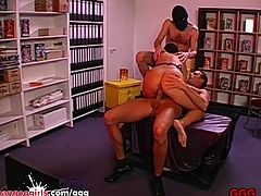Sexy Asian MILF shared and Spit-Roasted - German Goo Girls
