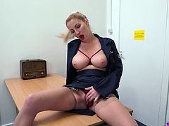 Big tittied milf tales off sexy uniform and masturbates wet alluring pussy